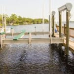 Empty IMM Quality Boat Lift features aluminum and boat lift accessories