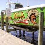 Iguana Mia boat Juan painted bright green is stored out of the water on IMM Quality Boat Lift