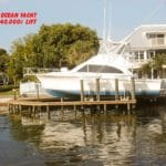 White 42 foot ocean yacht sits on IMM Quality boat lift rated for 40000 pounds