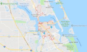 Google map of boat lifts in Stuart FL