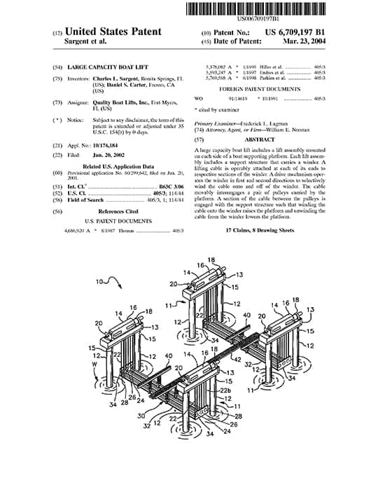Patented Technology - image patent-2 on https://iqboatlifts.com