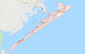 Google map of boat lifts in Galveston TX