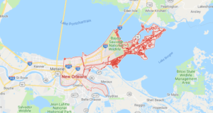 Google map of boat lifts in New Orleans LA
