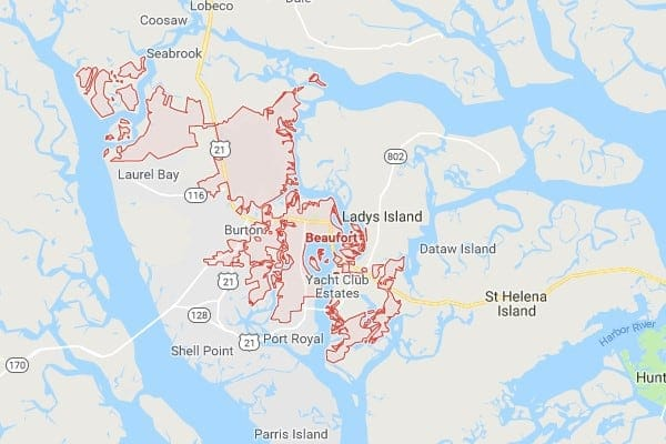 Boat Lifts in Beaufort SC Map