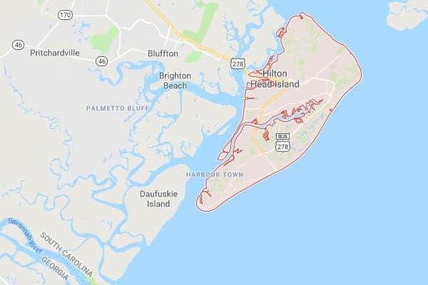 Boat Lifts in Hilton Head Island SC Map
