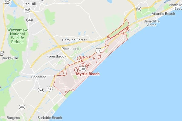 Boat Lifts in Myrtle Beach SC Map