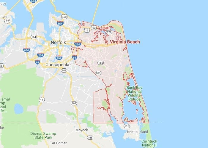 Boat Lifts in Virginia Beach VA Map
