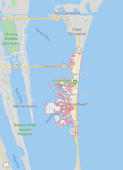 Google map with boat lifts in Cocoa Beach, FL