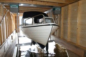 Boathouse Lifts Gallery - image Alumavator-in-Boathouse-2-300x200 on http://iqboatlifts.com