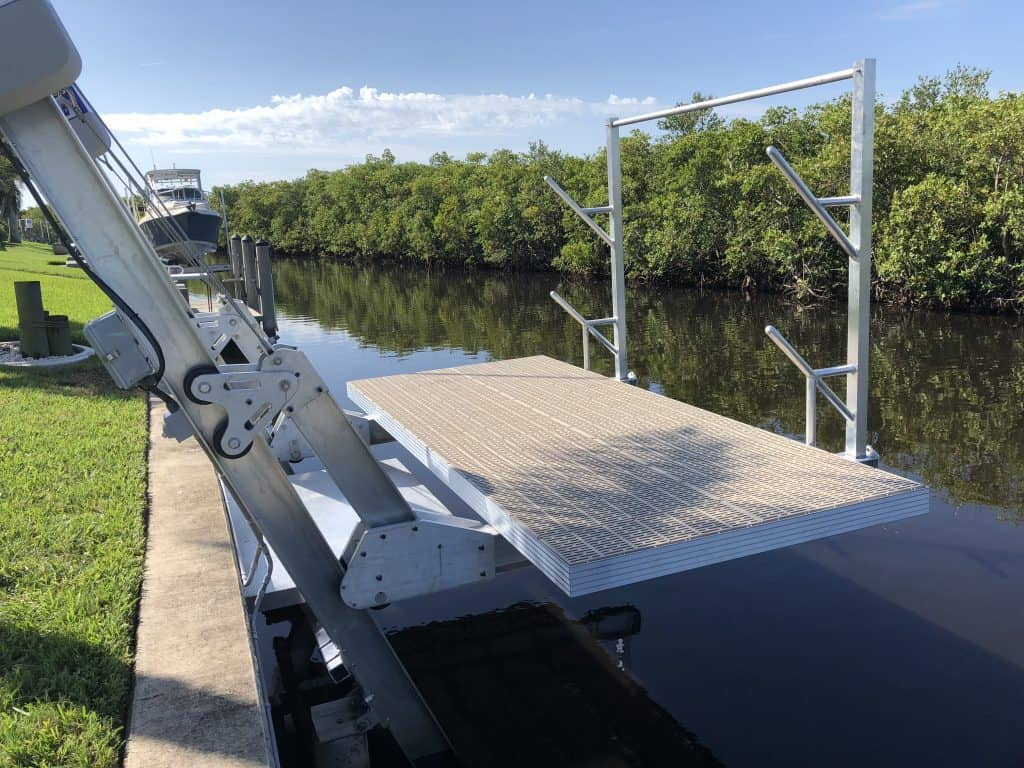 Boat Lift Accessories for Lifting, Docking, Storing and Making Repairs - image Elevator-deck-lift-with-access-platform-and-kayak-rack-1024x768 on http://iqboatlifts.com