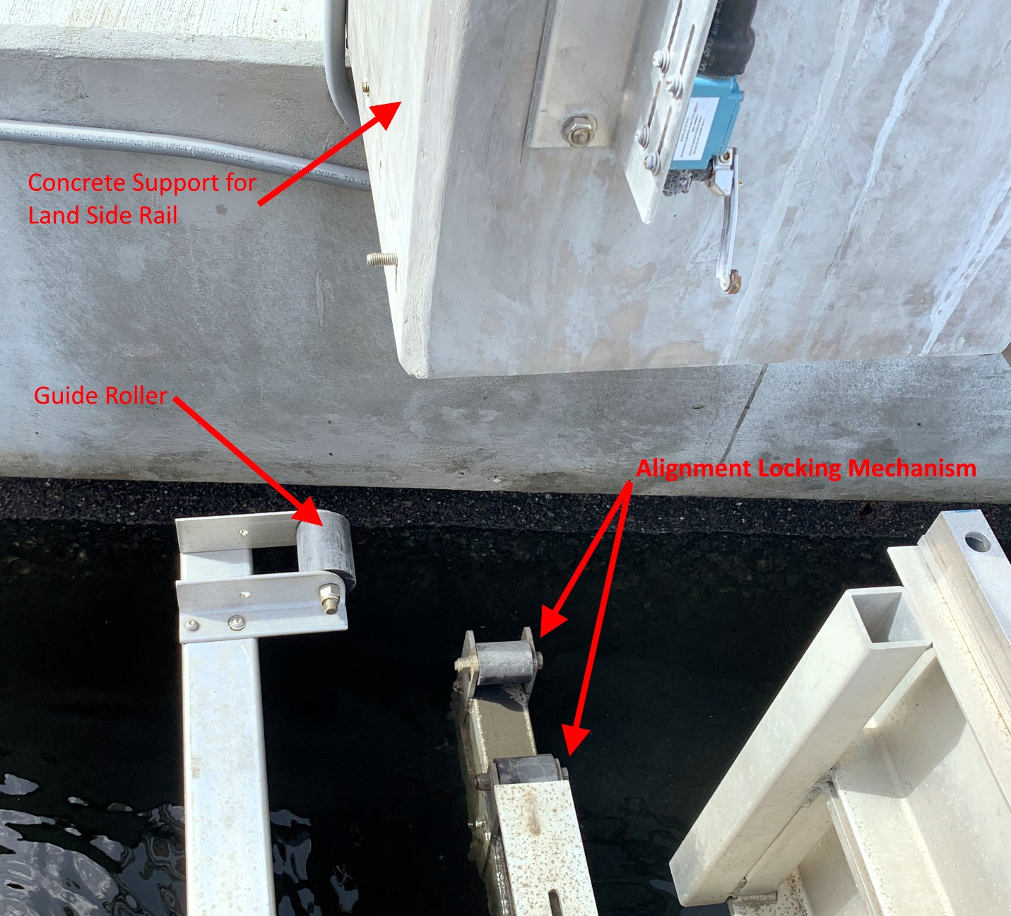 Concrete Support With Guide Roller IMM Quality Boat Lifts