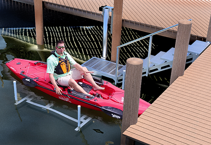Man in a kayak at the bottom of the ascension stair lift