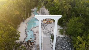 The Rose Key Skyway invites guest with a custom built aluminum archway.